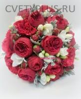 Свадебный из пионовидных роз с фрезией 4000 руб.