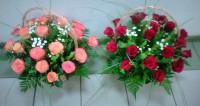 корзина  роз с зеленью 5450 руб.