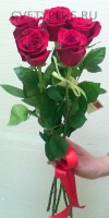 5 роз с лентой 775 руб.